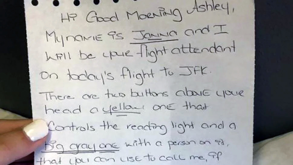 Accessibility Matters: A hand-written note from a thoughtful flight attendant