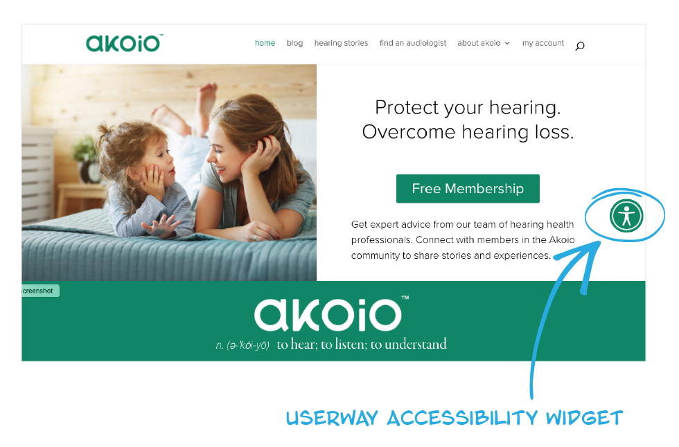 The UserWay usability icon at the right of the Akoio.com website