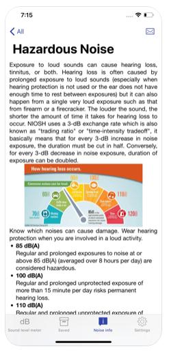 Screenshot of NIOSH Hearing App