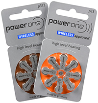 power one hearing aid batteries, sizes 13 (orange) and 312 (brown)