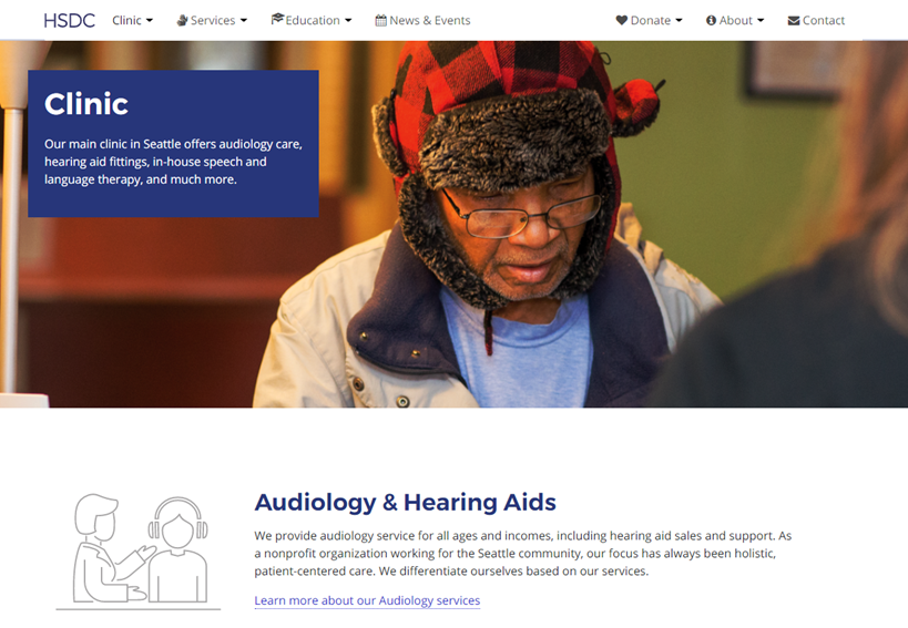 HSDC Clinic website page with older man wearing glasses and a winter hat