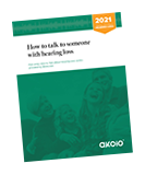 Rotated cover of 2021 How to talk to someone with hearing loss guide
